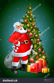 santa with christmas tree december clipart explore pictures