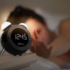 retro alarm clock radio with motion activated night light and