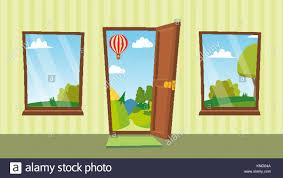 home interior vector opened door and windows vector flat summer landscape