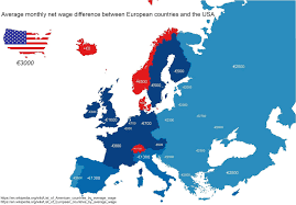 Country Map Usa by Average Monthly Net Wage Difference Between European Countries And