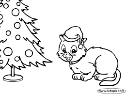 kitten christmas tree coloring coloring