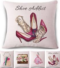 Shoe Home Decor Fashion Dress High Heeled Shoes Linen Cotton Pillow Cover Home