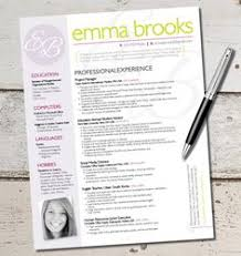 The Emma Resume Template Design   Graphic Design   Marketing   Sales   Customer Service   Medical   Teachers i wouldn     t put your picture on there unless