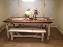 antique farmhouse kitchen table with bench for classic decoration