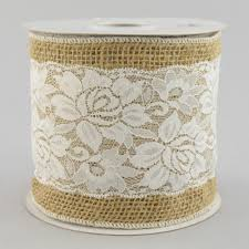 burlap and lace ribbon 5 burlap white lace ribbon 10 yards rn4734 craftoutlet