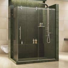 Frameless Shower Sliding Glass Doors Frameless Bypass Sliding Shower Doors Showers The Home Depot