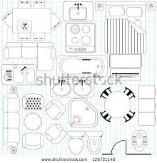 Set Design Floor Plan Outline Vector Simple Furniture Plan Floor Stock Vector 126721148