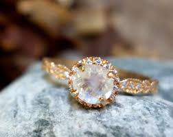Moonstone Wedding Ring by Solid Moonstone Ring Etsy