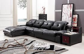 Sofa Set L Shape Furniture Dark Brown Leather Sectional Sofa With Back Rest Having