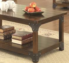 3pc coffee table set in tobacco brown by coaster