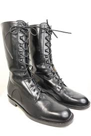 s lace up combat boots size 11 vintage 90s black leather style army combat lace up ankle