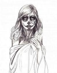 sugar skull lady drawing dia de los muertos or day of the dead is