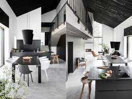 dining room black white scandinavian open plan dining space