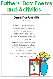 father u0027s day poems and worksheets