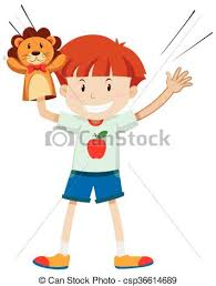 lion puppet boy with lion puppet illustration vector search clip