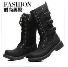 2015 punk rock cool men u0027s high ankle fashion motorcycle army boot