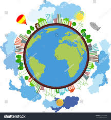 globe surrounded by ecofriendly houses windmills stock vector
