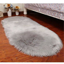 Furry Black Rug Faux Fur Rugs Ebay