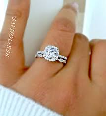 ring set 925 silver 2 asscher cut halo wedding engagement ring