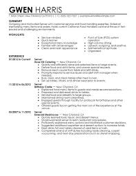 Exles Of Server Resume Objectives Resume Exles For Restaurant Server 100 Images Restaurant