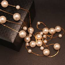 aliexpress pearl necklace images New fashion women vintage jewelry gold silver plate long chain jpg