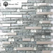 tst glass mental tile glass tile grey strip stainless steel