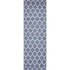 unique loom geometric trellis light blue 2 ft x 6 ft area rug