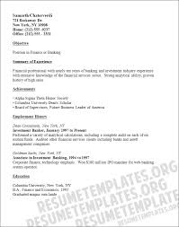 Banking Objective For Resume Banking Resume Template