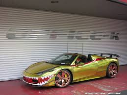 cars ferrari gold office k transforms ferrari 458 spider into a shark in gold