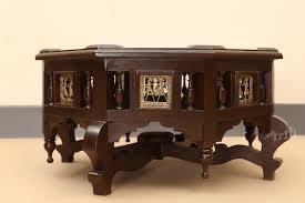 teak wood low octagon coffee table aakriti art creations