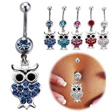 2017 kawaii owl belly button rings mix 316l surgical steel fashion
