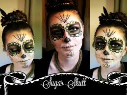 gold and black sugar skull tutorial last minute halloween look