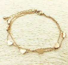 gold bracelet heart charm images 316l stainless steel seven heart charms lady bracelet or anklet jpg