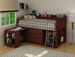 bedroom lofted bed with desk underneath features brown loft bed