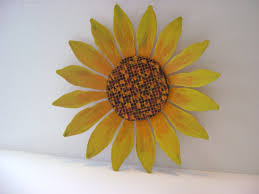 Garden Wall Decoration by Metal Sunflower Wall Art Takuice Com