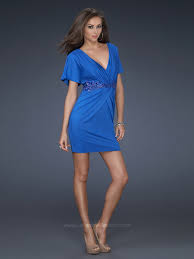 elegant royal blue elastic chiffon sheath style short sleeves v