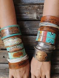 leather bracelet cuff women images Mama bear cuff punch vintage style jpg
