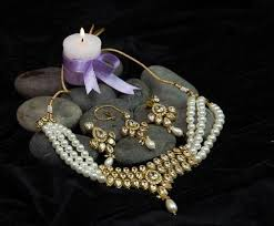 choker necklace pearl images White pearl kundan choker necklace jewellery set at rs 1820 piece jpg