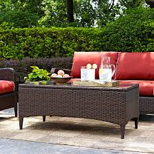 Patio Furniture Springfield Mo by Crosley Kiawah Outdoor Wicker Loveseat With Sangria Cushions