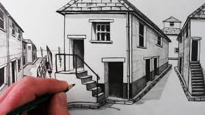 drawing a house how to draw a house in 1 point perspective step by step ikwikit