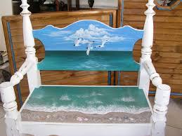 ornate beach bench hand painted bahamas beach bench headboard
