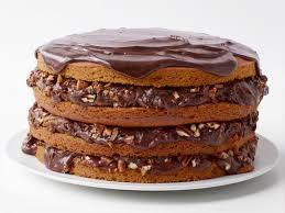pumpkin spice cake with chocolate pecan filling recipe food