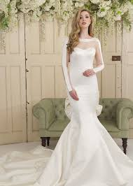 fishtail wedding dress with illusion long sleeves train and bow
