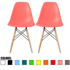 amazon com 2xhome set of two 2 pink eames side chair eames