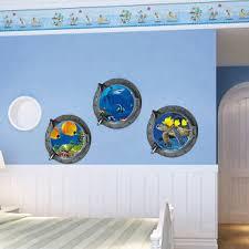 stickers pour chambre d enfant vue sous marine poissons 3d fenêtre wall sticker pour chambre d
