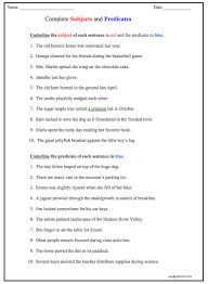 subject predicate activities subject and predicate worksheets
