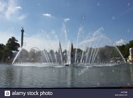 ornamental water fountains in lake gorky park moscow russia stock