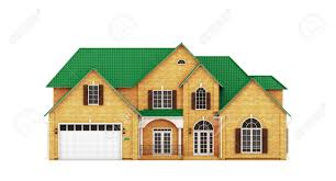 yellow brick house with green roof front view stock photo