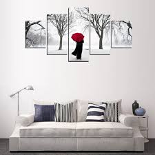 popular umbrella snow painting buy cheap umbrella snow painting 2017 5 panels red umbrella snow view landscape canvas print painting for room wall art picture