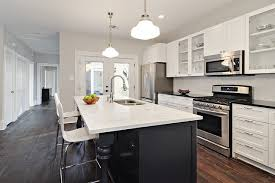 White Kitchen Black Island Gray Kitchen Walls Design Ideas